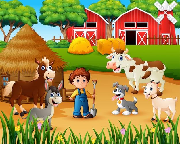 Agricultor e animal de fazenda no terreiro