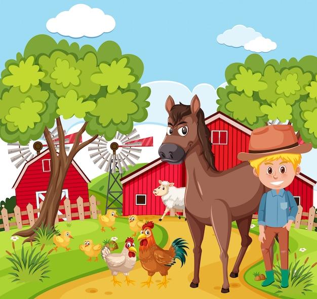 Agricultor e animal na fazenda