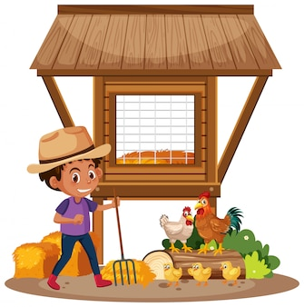 Agricultor e galinhas na fazenda
