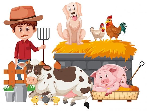 Agricultor e muitos animais em fundo branco