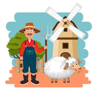 Agricultor e ovelhas na cena da fazenda