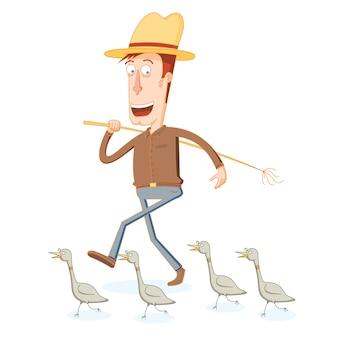 Agricultor e sua banda de soldado de pato