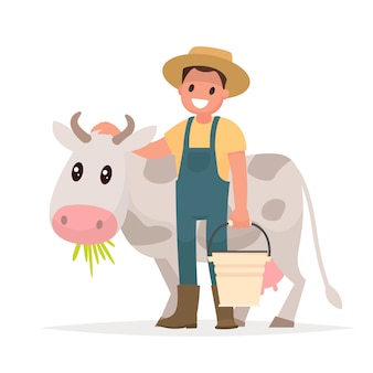 Agricultor e vaca. agricultura, ilustração em estilo simples