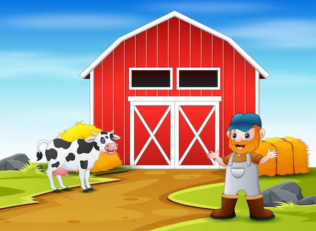 Agricultor e vaca em frente ao celeiro
