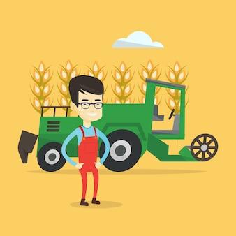 Agricultor em pé com combinar no fundo.