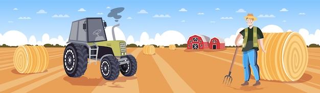 Agricultor em uniforme, coletando feno, trator, fazendo fardos de palha no campo de trigo colhido, agricultura ecológica, conceito