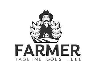 Agricultor, estilizado, retrato