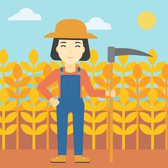 Agricultor feminino com foice