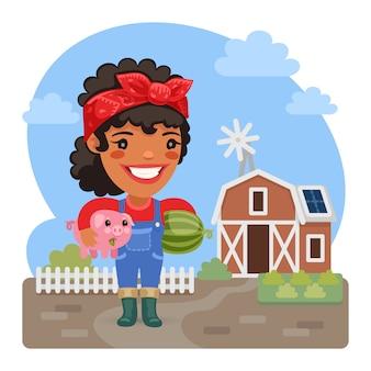 Agricultor feminino dos desenhos animados com um porquinho
