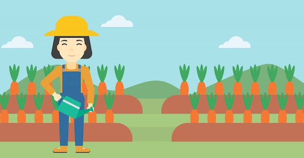 Agricultor feminino e regador