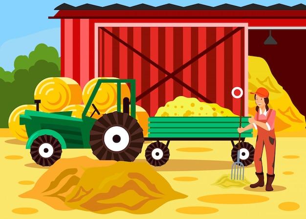 Agricultor feminino trabalhando com desenhos animados de forquilha