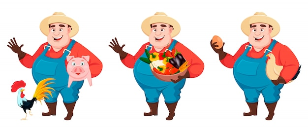 Agricultor gordo, engenheiro agrônomo, conjunto de três poses