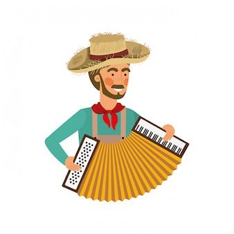 Agricultor homem com instrumento musical