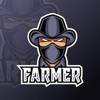 Agricultor homem mascote jogos logotipo terno preto máscara e chapéu