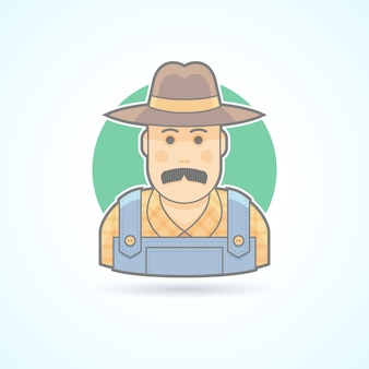 Agricultor, jardineiro, ícone do fazendeiro. ilustração de avatar e pessoa. estilo delineado colorido.