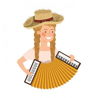 Agricultor mulher com instrumento musical