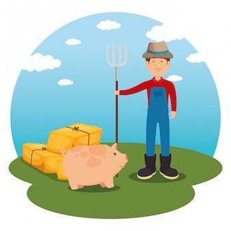 Agricultor na cena da fazenda
