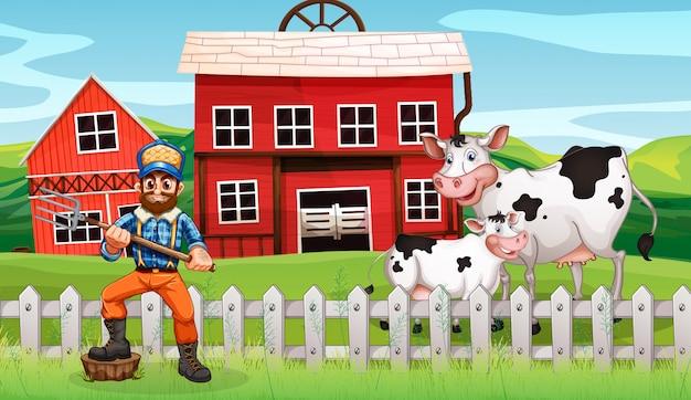 Agricultor na terra rural
