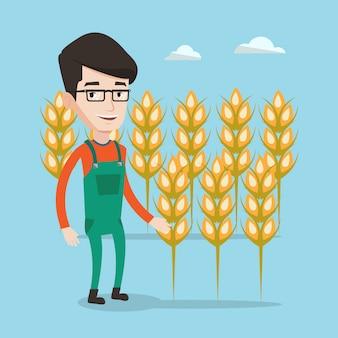 Agricultor no campo de trigo