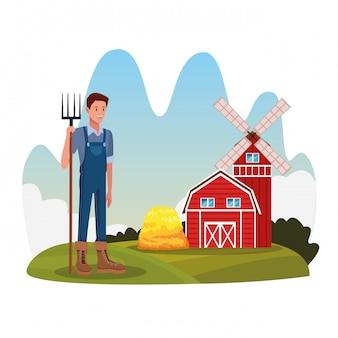 Agricultor no cenário de desenhos rurais rurais