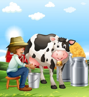 Agricultor ordenhando uma vaca durante o dia