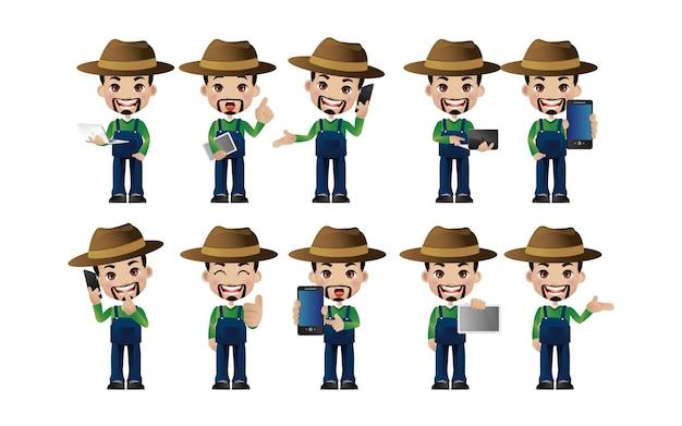 Agricultor. pessoas com poses diferentes
