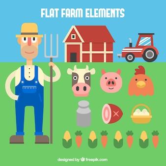 Agricultor plano e elementos orgânicos