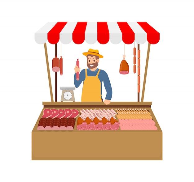 Agricultor que vende produtos de carne ilustração vetorial