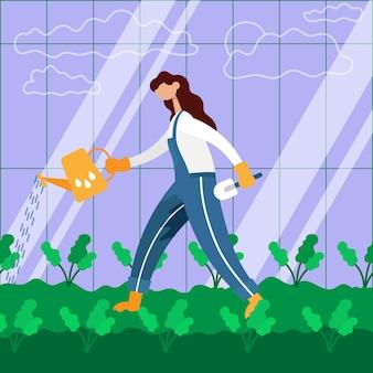 Agricultor regando um jardim com um regador. ilustração em vetor cor plana dos desenhos animados.