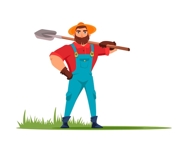 Agricultor segurando uma pá na mão