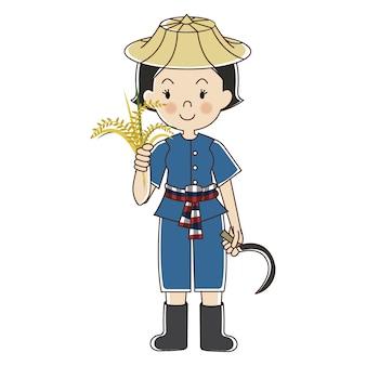 Agricultor tailandês com planta de arroz