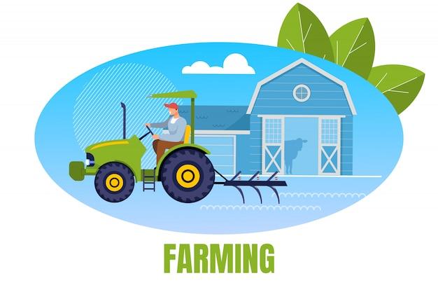 Agricultor, trabalhador, agrarian, personagem, dirigindo, trator