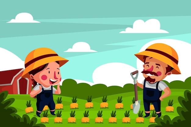 Agricultor trabalhando juntos na fazenda