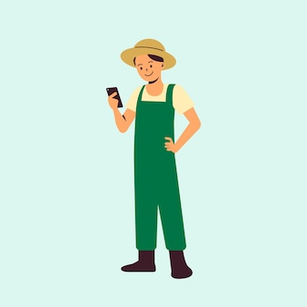 Agricultor usando tecnologia agrícola
