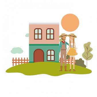 Agricultores casal conversando