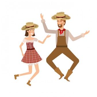 Agricultores casal dançando com chapéu de palha