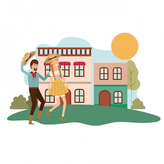 Agricultores casal dançando