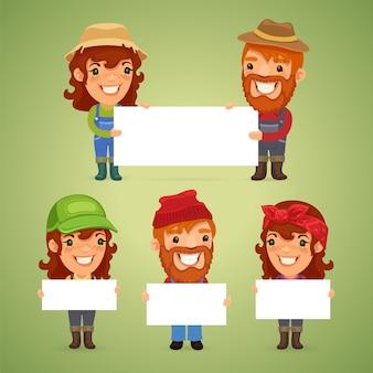 Agricultores com cartazes em branco