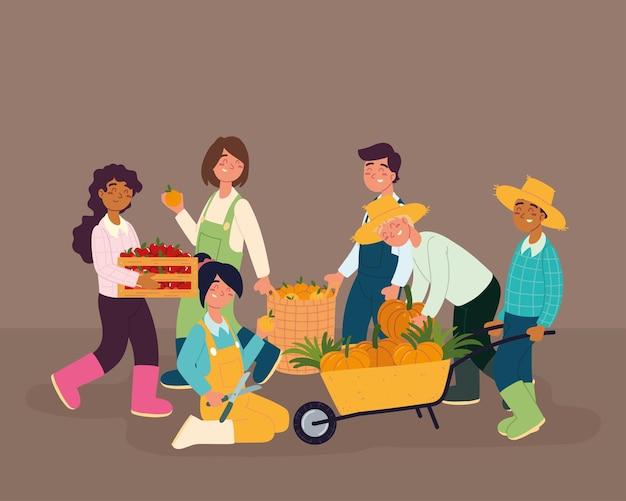 Agricultores com comida fresca