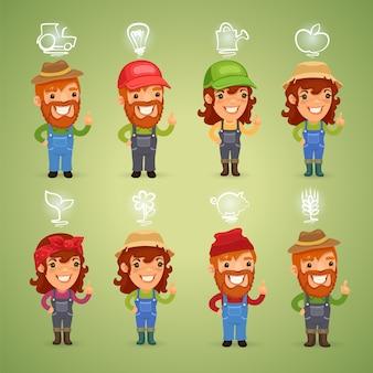 Agricultores com conjunto de ícones