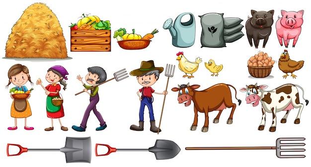 Agricultores com suas ferramentas e animais