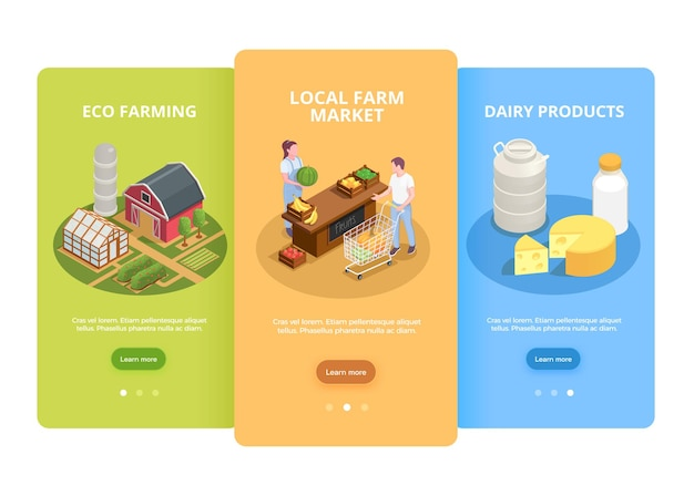 Agricultores comercializam 3 banners de web verticais isométricos com produtos lácteos ecológicos locais e ilustração de vegetais