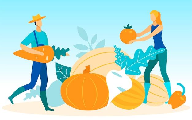 Agricultores de homem e mulher com legumes nas mãos
