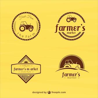Agricultores do vintage emblemas do mercado