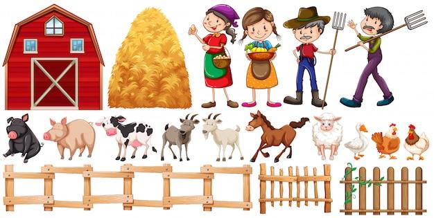 Agricultores e animais de fazenda