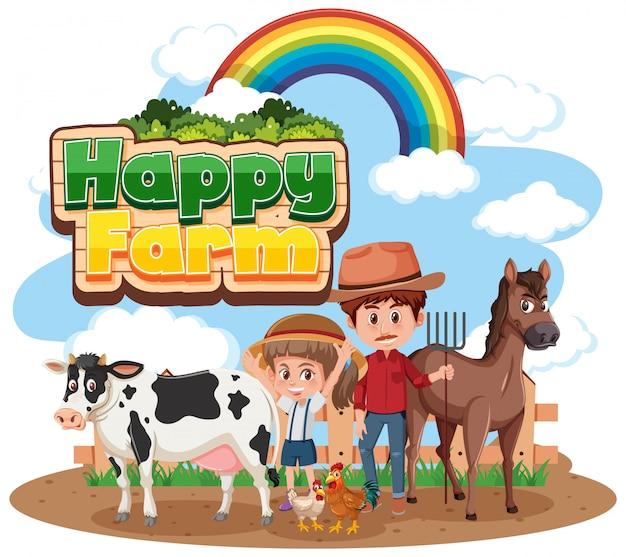 Agricultores e animais na fazenda