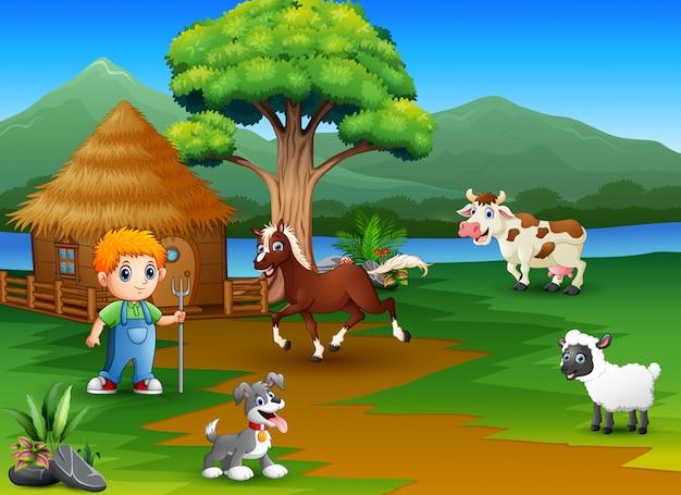 Agricultores e fazenda de animais com belas paisagens naturais