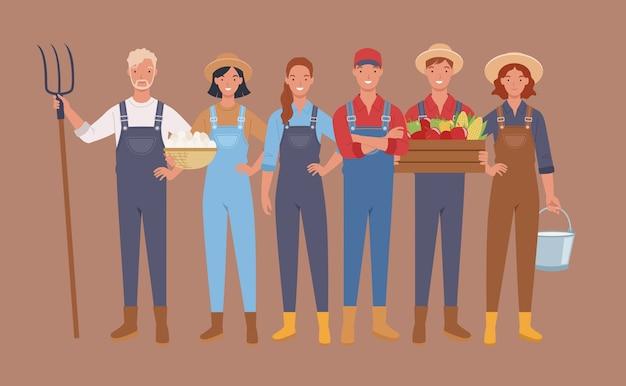 Agricultores e personagens de colheita, trabalhadores agrícolas.