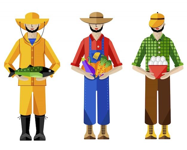 Agricultores e pescador, ilustração