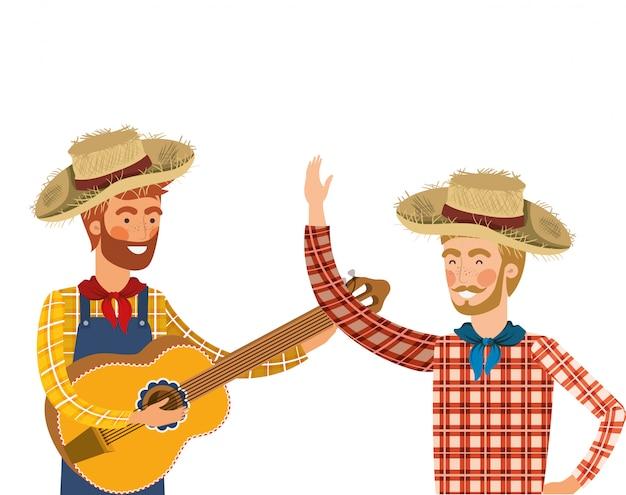 Agricultores homens com instrumento musical